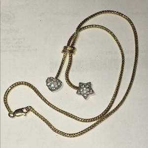 Heart Star Rhinestone Gold Tone Lariat necklace